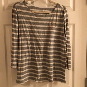 Old Navy 3/4 sleeve gray/white striped top